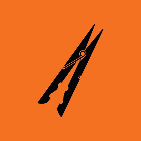 peg: Cloth peg icon. Orange background with black. Vector illustration.