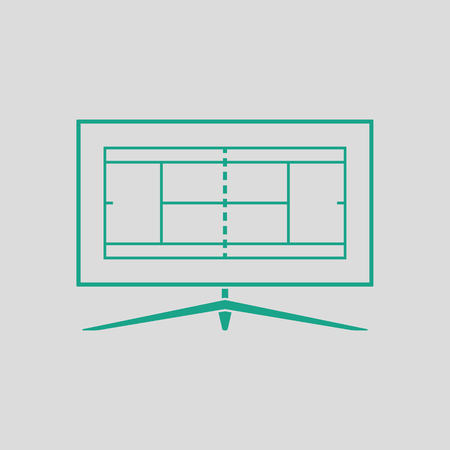 translating: Tennis TV translation icon. Gray background with green. Vector illustration.