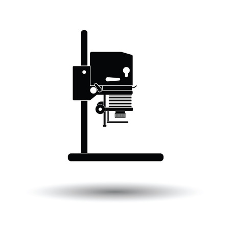 enlarger: Icon of photo enlarger. White background with shadow design. Vector illustration.