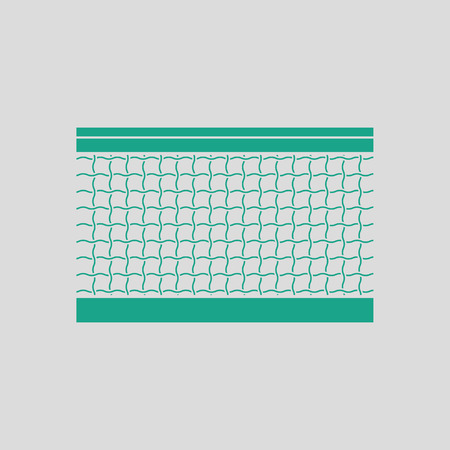 synthetic court: Tennis net icon. Gray background with green. Vector illustration.