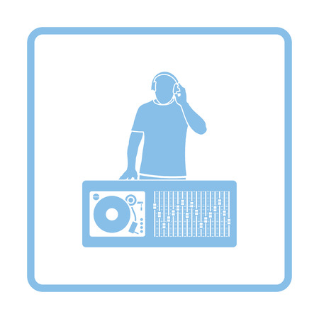 disk jockey: DJ icon. Blue frame design. Vector illustration.