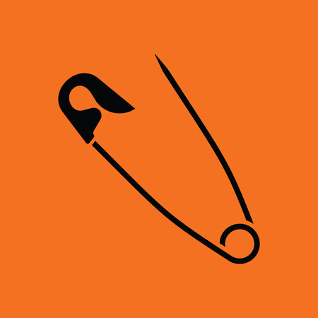 Tailor safety pin icon. Orange background with black. Vector illustration.