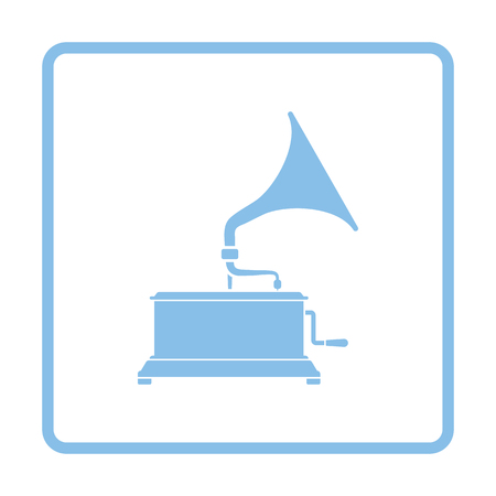restored: Gramophone icon. Blue frame design. Vector illustration.