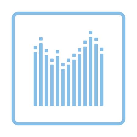 graphic equalizer: Graphic equalizer icon. Blue frame design. Vector illustration.