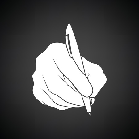 hand pen: Hand with pen icon. Black background with white. Vector illustration.