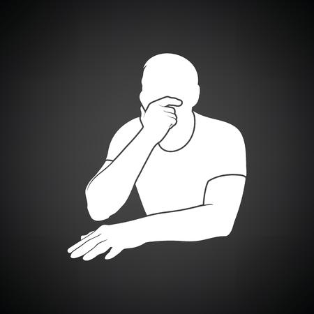 black man thinking: Thinking man icon. Black background with white. Vector illustration. Illustration