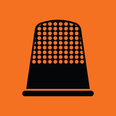 hem: Tailor thimble icon. Orange background with black. Vector illustration.