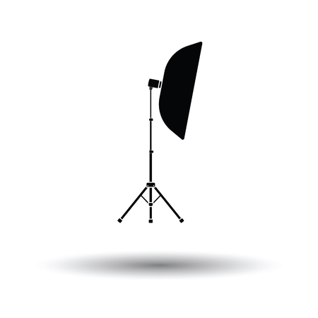 softbox: Icon of softbox light. White background with shadow design. Vector illustration.