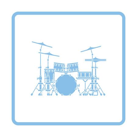 drum set: Drum set icon. Blue frame design. Vector illustration. Illustration