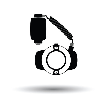 Icon of portable circle macro flash. White background with shadow design. Vector illustration.