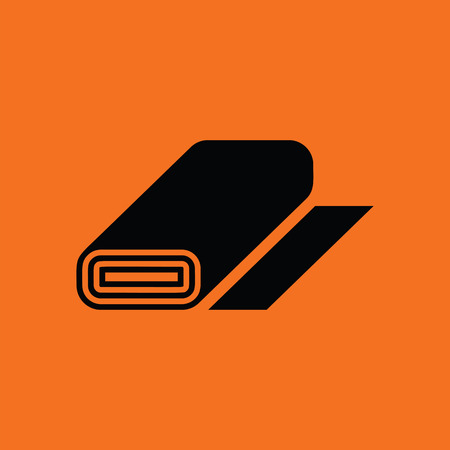 single coil: Tailor cloth roll icon. Orange background with black. Vector illustration.