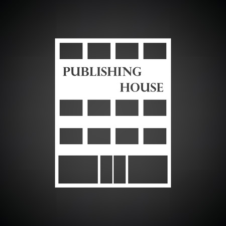 issuer: Publishing house icon. Black background with white. Vector illustration. Illustration