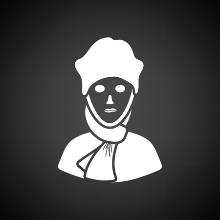 poet: Poet icon. Black background with white. Vector illustration.