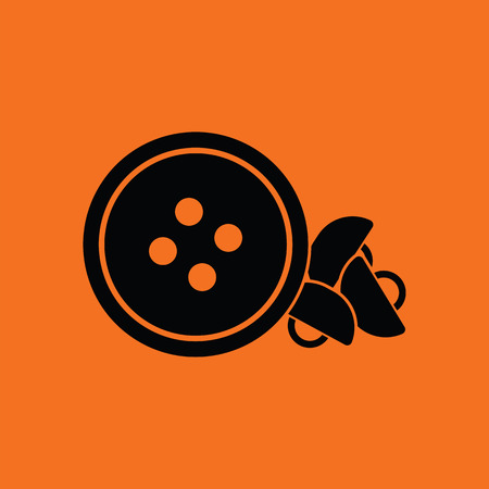 sewing buttons: Sewing buttons icon. Orange background with black. Vector illustration.