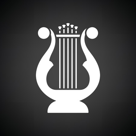 Lyre icon. Black background with white. Vector illustration.