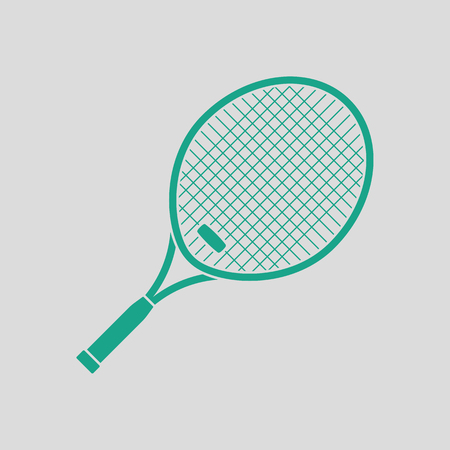 individual sports: Tennis racket icon. Gray background with green. Vector illustration. Illustration