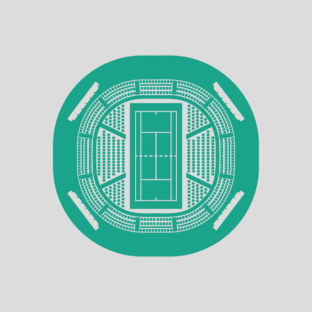 grandstand: Tennis stadium aerial view icon. Gray background with green. Vector illustration.