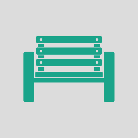 Tennis player bench icon. Gray background with green. Vector illustration.