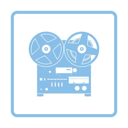 tape recorder: Reel tape recorder icon. Blue frame design. Vector illustration. Illustration