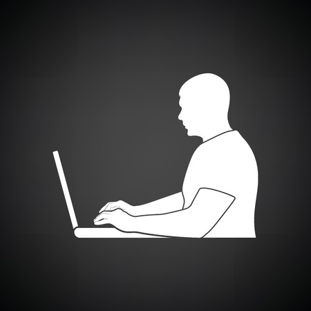 Writer at the work icon. Black background with white. Vector illustration.