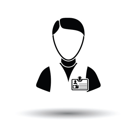 Icon of photographer. White background with shadow design. Vector illustration.