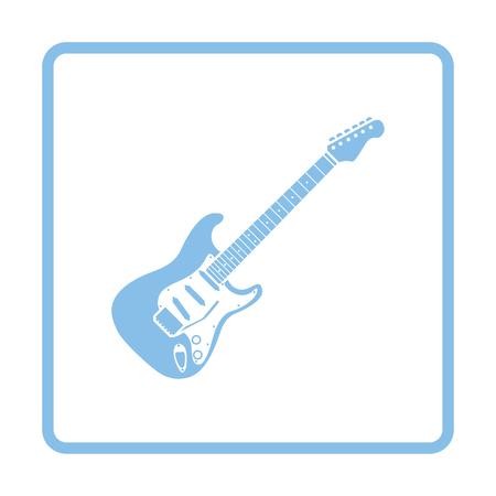 electric blue: Electric guitar icon. Blue frame design. Vector illustration. Illustration