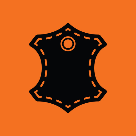 Leather sign icon. Orange background with black. Vector illustration.