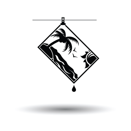 Icon of photograph drying on rope. White background with shadow design. Vector illustration.