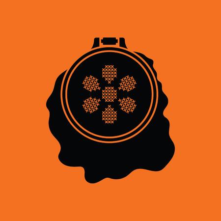 stitchery: Sewing hoop icon. Orange background with black. Vector illustration.