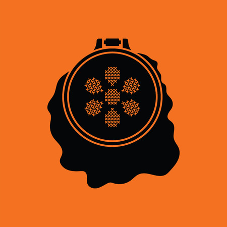 Sewing hoop icon. Orange background with black. Vector illustration.