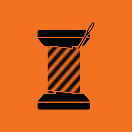 Sewing reel with thread icon. Orange background with black. Vector illustration.