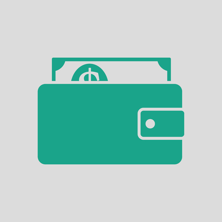 style wealth: Wallet with cash icon. Gray background with green. Vector illustration. Illustration