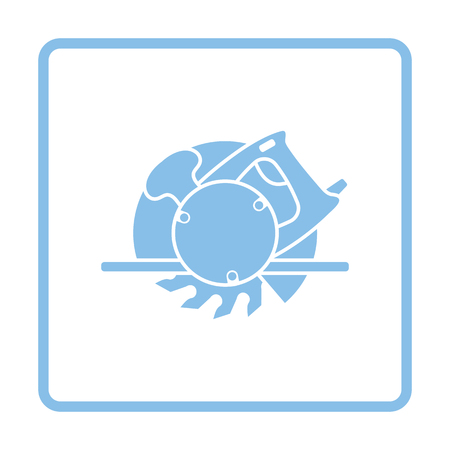 circular saw: Circular saw icon. Blue frame design. Vector illustration.