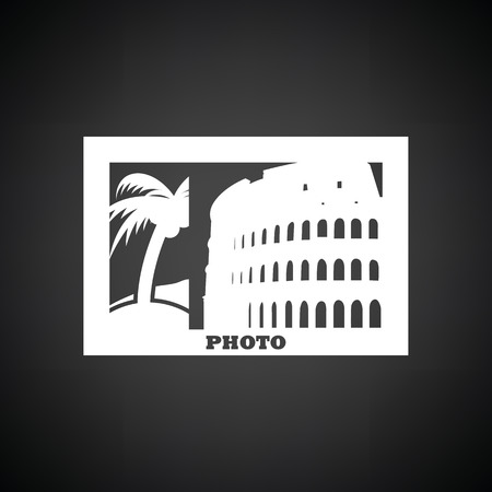 presentation screen: Digital photo frame icon. Black background with white. Vector illustration.