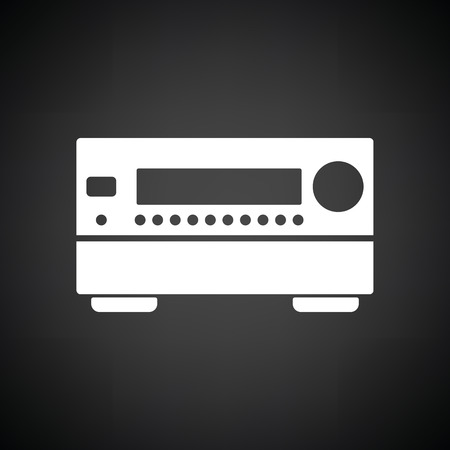 home theater: Home theater receiver icon. Black background with white. Vector illustration.
