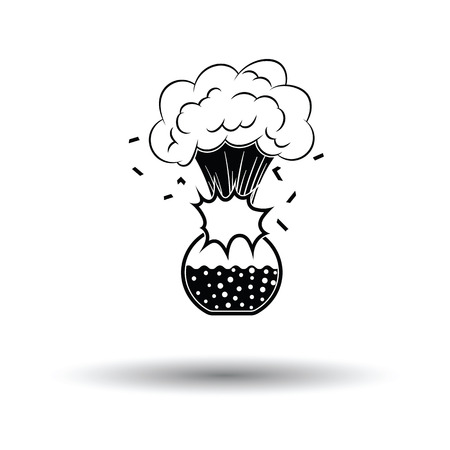 Icon explosion of chemistry flask. White background with shadow design. Vector illustration. Illustration