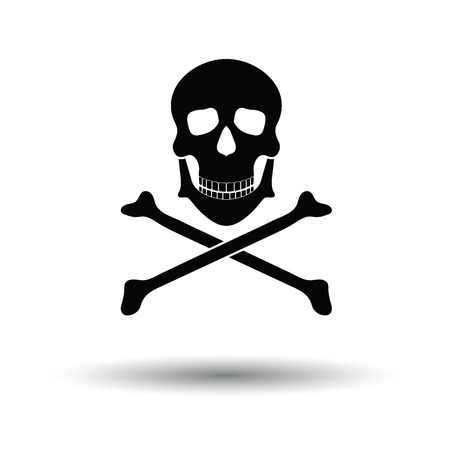 Icon of poison from skill and bones. White background with shadow design. Vector illustration. Illustration