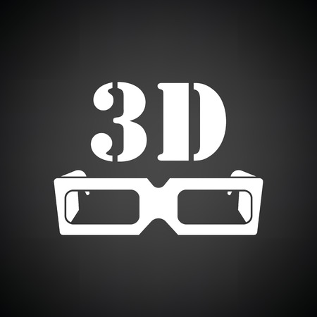 goggle: 3d goggle icon. Black background with white. Vector illustration.