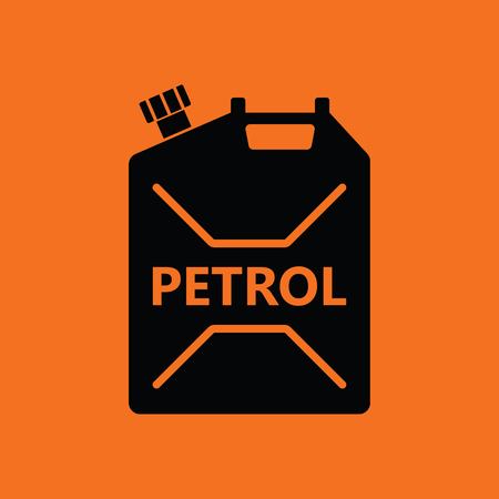 refueling: Fuel canister icon. Orange background with black. Vector illustration.