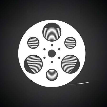 Film reel icon. Black background with white. Vector illustration.