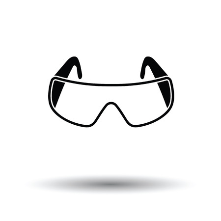 Icon of chemistry protective eyewear. White background with shadow design. Vector illustration.