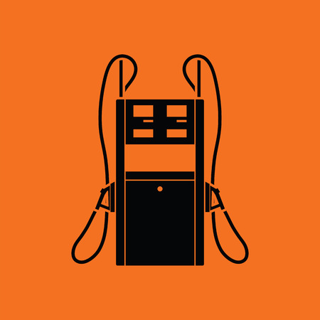 petrol pump: Fuel station icon. Orange background with black. Vector illustration.