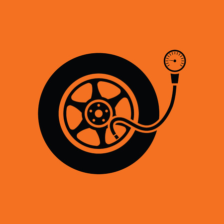 gage: Tire pressure gage icon. Orange background with black. Vector illustration.