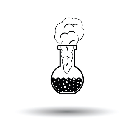 Icon of chemistry bulb with reaction inside. White background with shadow design. Vector illustration.