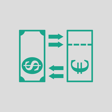 credit union: Currency exchange icon. Gray background with green. Vector illustration.