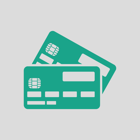 Credit card icon. Gray background with green. Vector illustration.