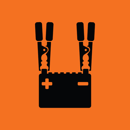 industrial vehicle: Car battery charge icon. Orange background with black. Vector illustration.