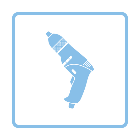 electric blue: Electric drill icon. Blue frame design. Vector illustration.