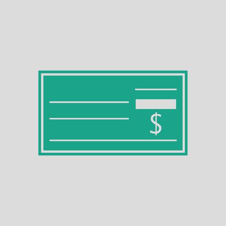 Bank check icoon. Grijze achtergrond met groen. Vector illustratie.