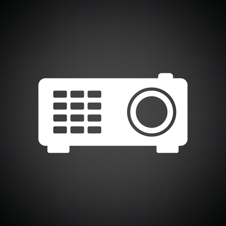 office tool: Video projector icon. Black background with white. Vector illustration.